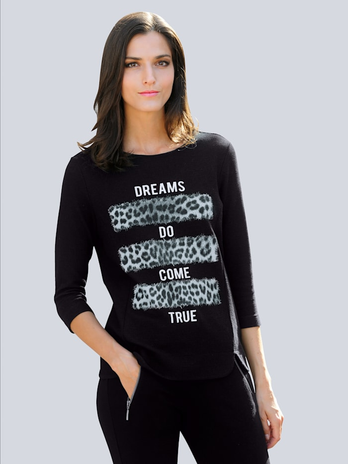 Alba Moda Shirt mit Motiv vorne, Schwarz