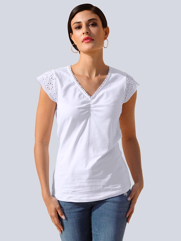 Alba Moda Shirt mit Lochstickerei am Arm, Weiß