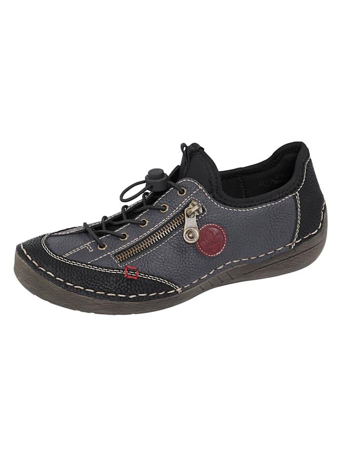 Rieker Slip-on shoes with decorative zip, Dark Blue