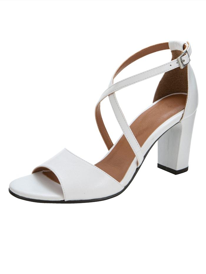 Sandale mit überkreuzter Riemchenführung, Weiß