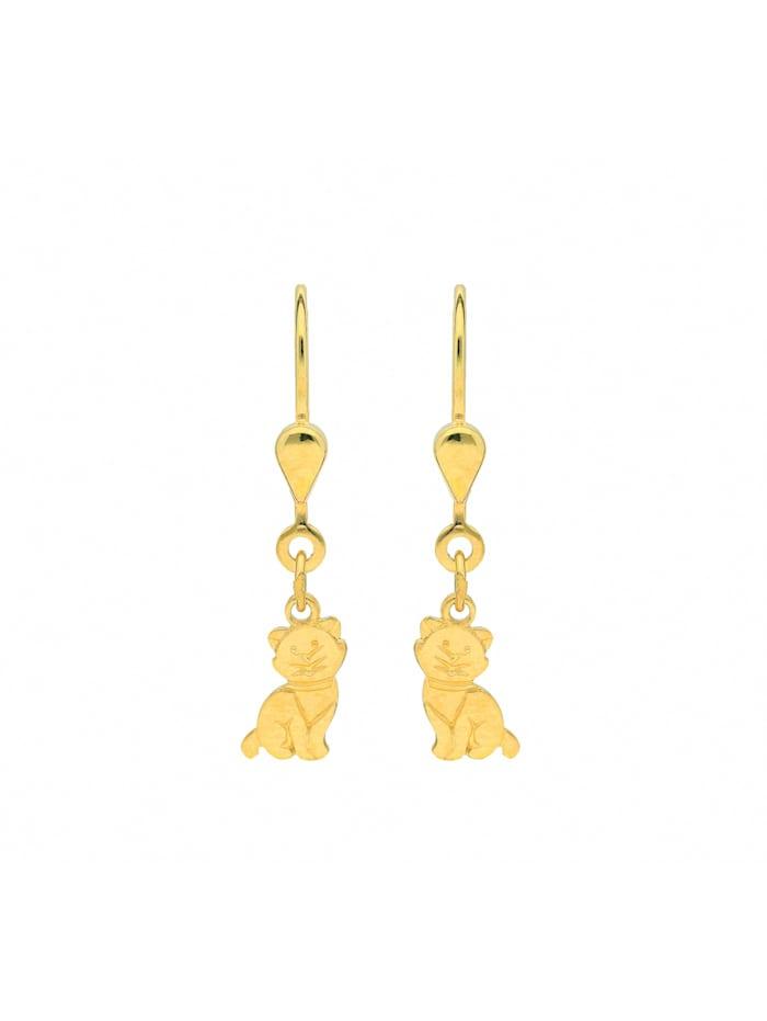 1001 Diamonds Damen Goldschmuck 585 Gold Ohrringe / Ohrhänger Katze, gold