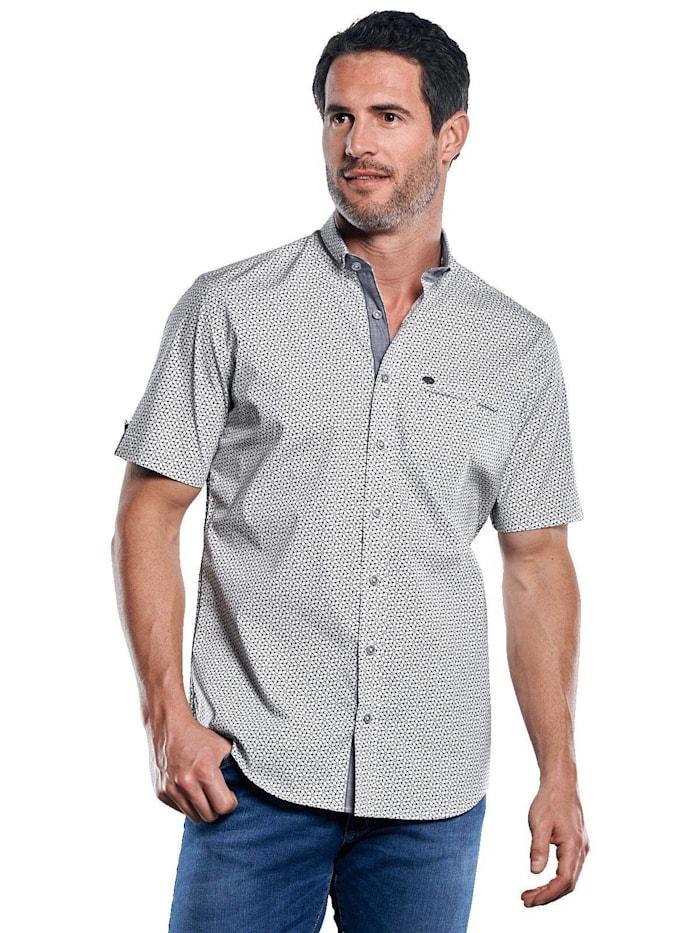 Engbers Gemustertes Hemd mit Jersey-Anteil, Naturweiss