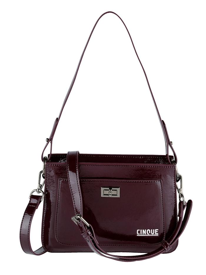 CINQUE Handtasche aus hochwertigem Lack-Softmaterial, bordeaux