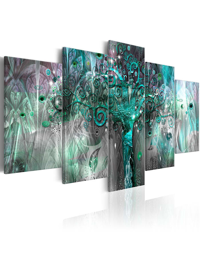 artgeist Wandbild Tree of the Future II, Schwarz,Grün,rosa,Weiß
