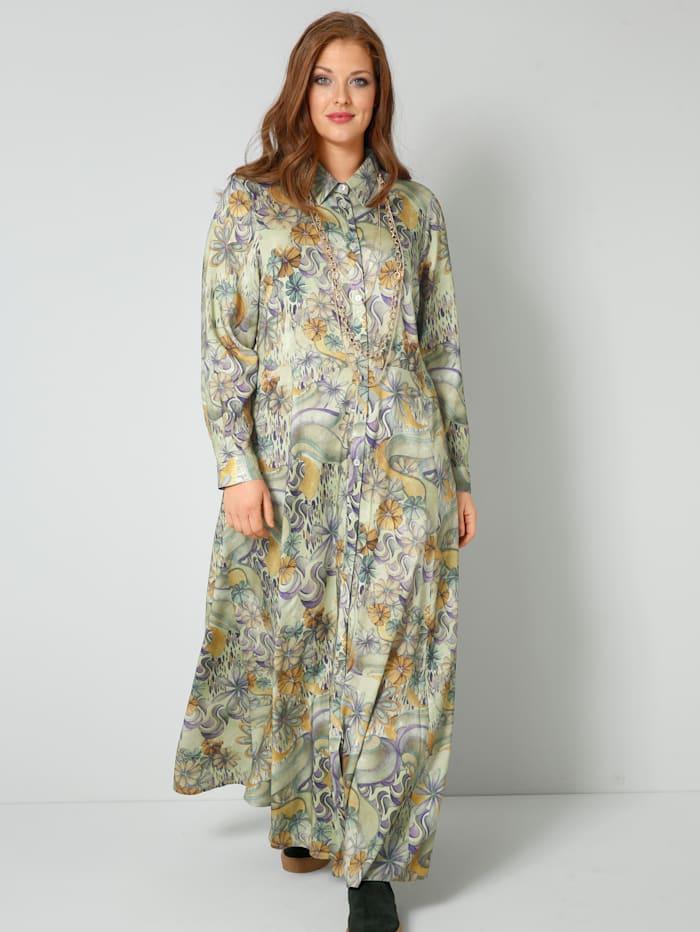 Sara Lindholm Web-Kleid in kaschierendem A-Shape, Oliv/Flieder