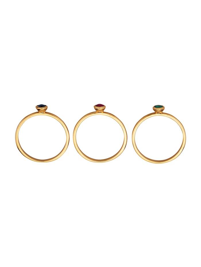 3tlg. Ring-Set mit Rubin, Saphir und Smaragd