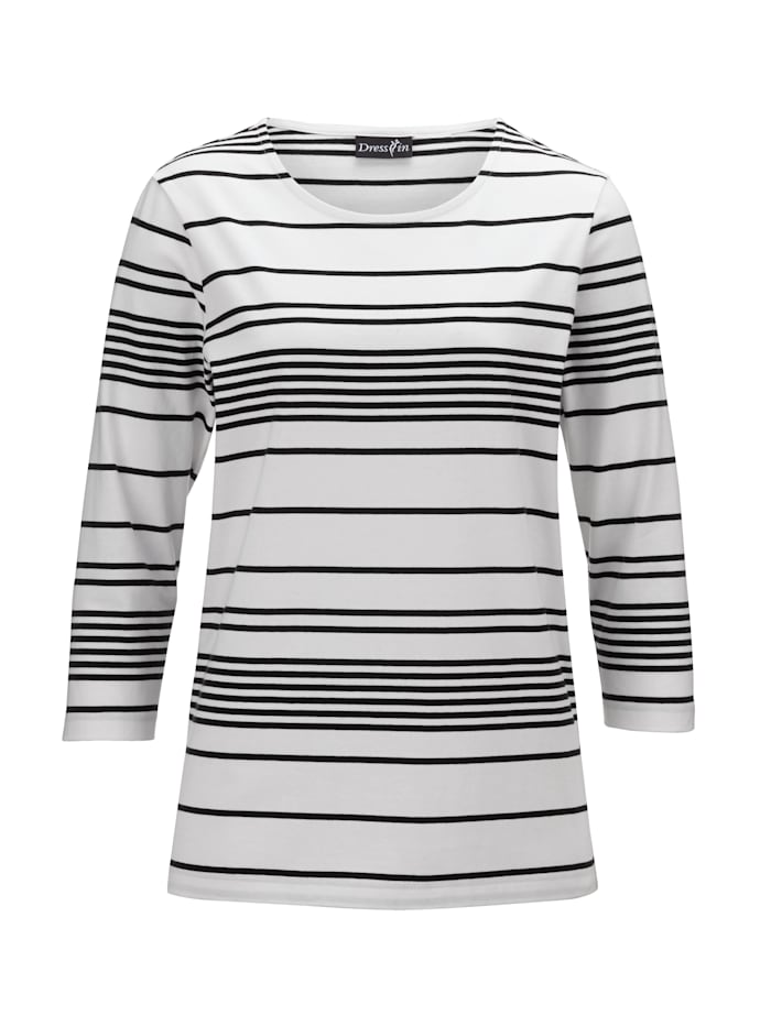 Dress In Ringelshirt mit 3/4-Ärmeln, Weiß/Schwarz
