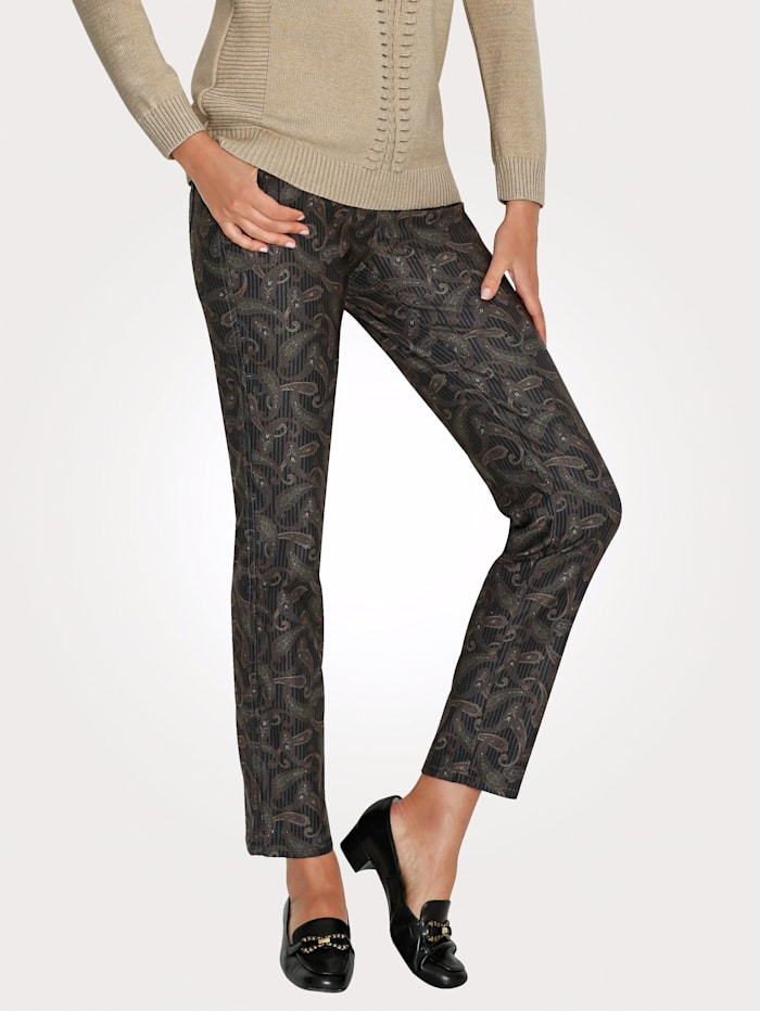 Toni Print Trousers, Black/Mustard