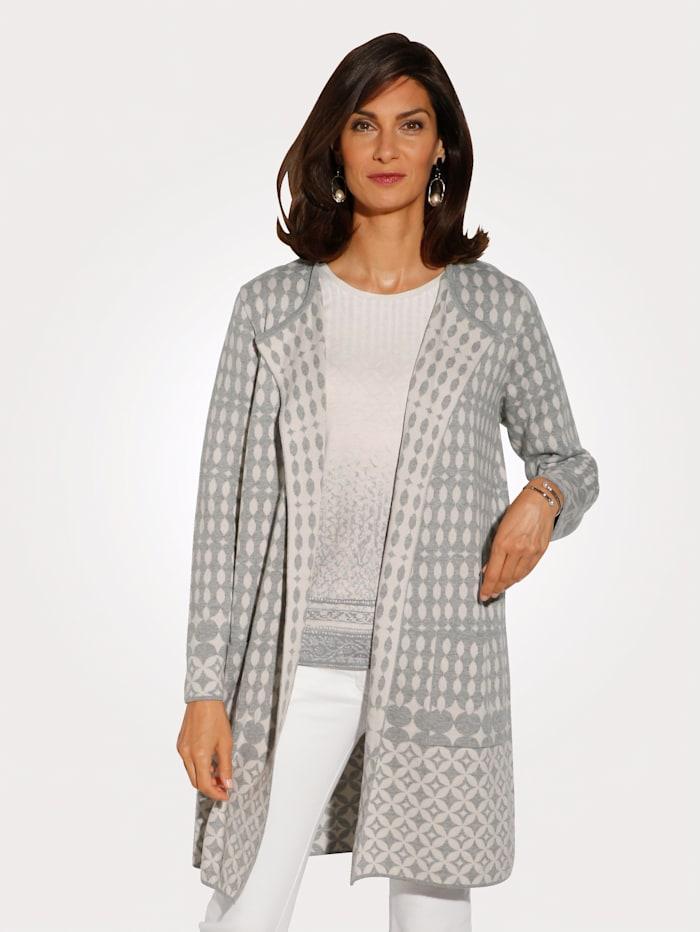 Longline cardigan in bold jacquard