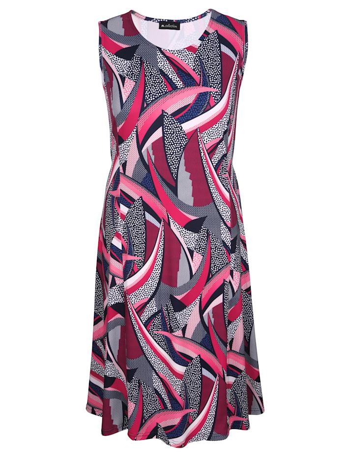 m. collection Kleid in grafischem Druckdesign, Marineblau/Beere/Pink
