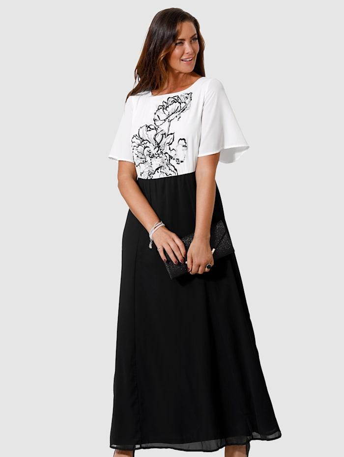 MIAMODA Robe de soirée à broderie florale et paillettes, Blanc/Noir