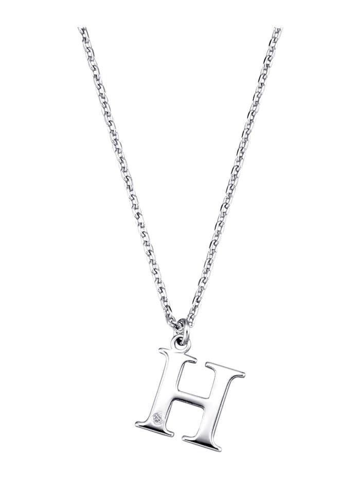 Collier Letter H met diamant, Zilverkleur