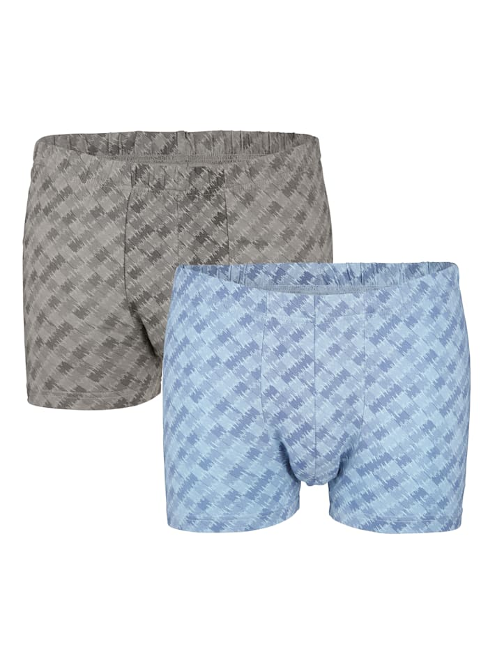 G Gregory Boxershort met modieus dessin 2 stuks, 1x grijs, 1x blauw