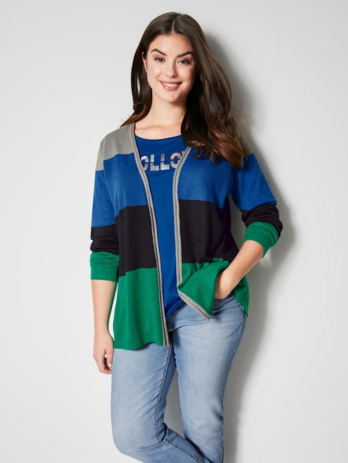 Angel of Style Vest met colorblocking, Grijs/Royal blue/Groen/Zwart