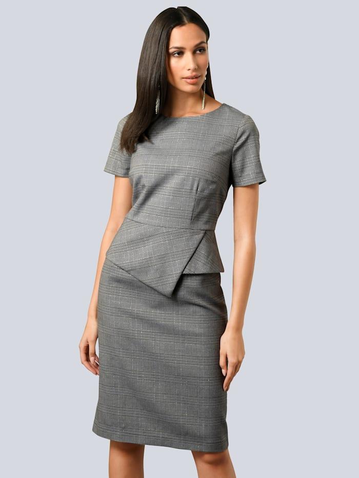 Alba Moda Kleid mit femininem Schößchen in der Taille, Grau