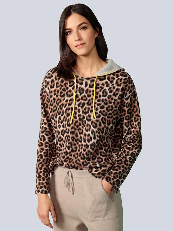 OUI Pullover mit modischem Leodruck, Camel