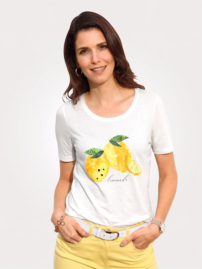 MONA Shirt mit Zitronen-Motiv, Weiß/Zitronengelb/Grün