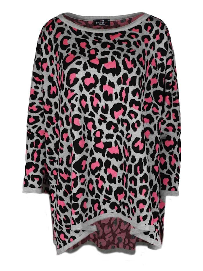 Zwillingsherz Ponchopullover Poncho Leo, grau/pink