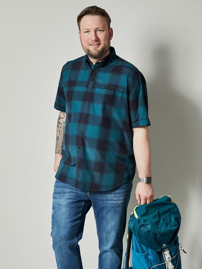 Men Plus Overhemd met ruiten, Marine/Petrol