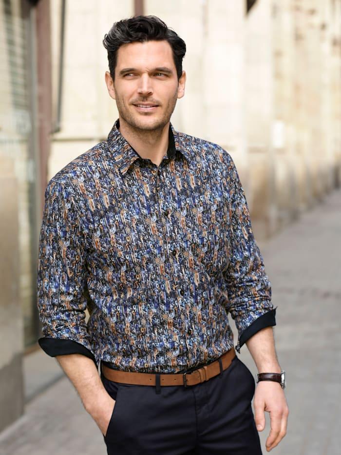 BABISTA Hemd mit Cordbesatz, Blau/Cognac