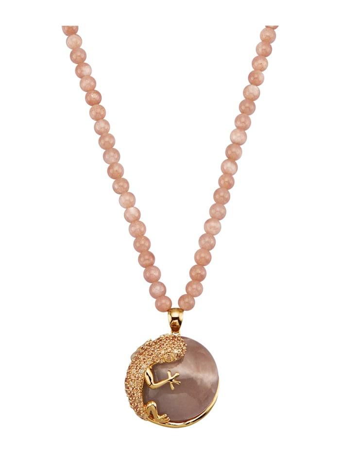 Amara Pierres colorées Collier pierre de lune avec zirconia de coloris champagne, Orange