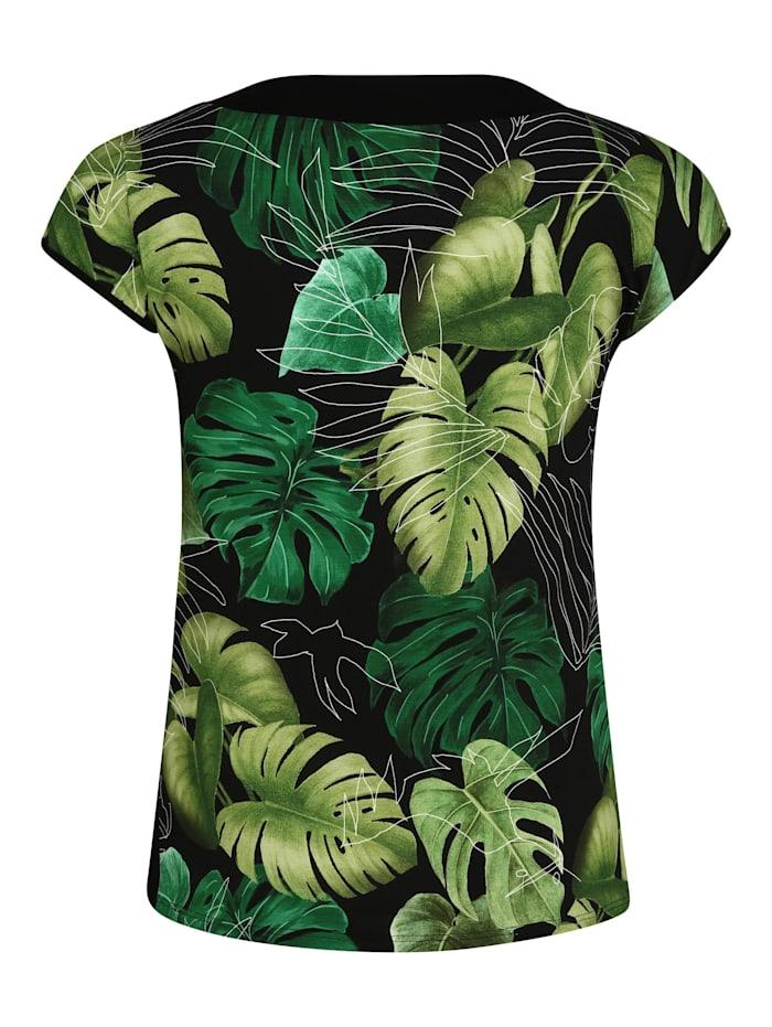 T-Shirt mit Blätter-Print Kontrastverarbeitung