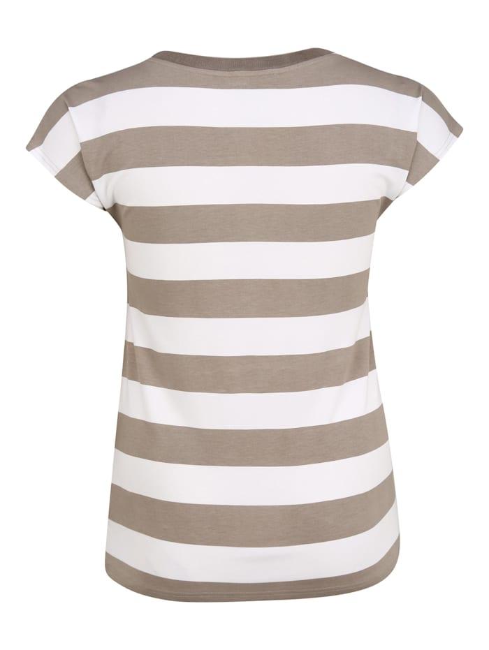 T-Shirt mit Streifen-Muster Glitzereffekt
