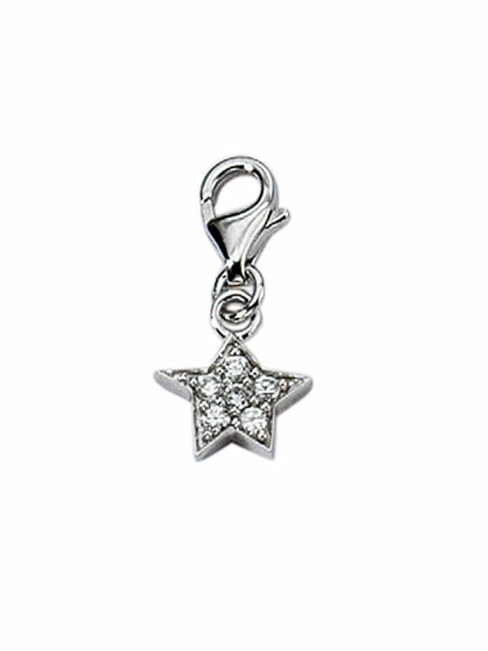 1001 Diamonds 1001 Diamonds Damen Silberschmuck 925 Silber Charms Anhänger Stern mit Zirkonia, silber