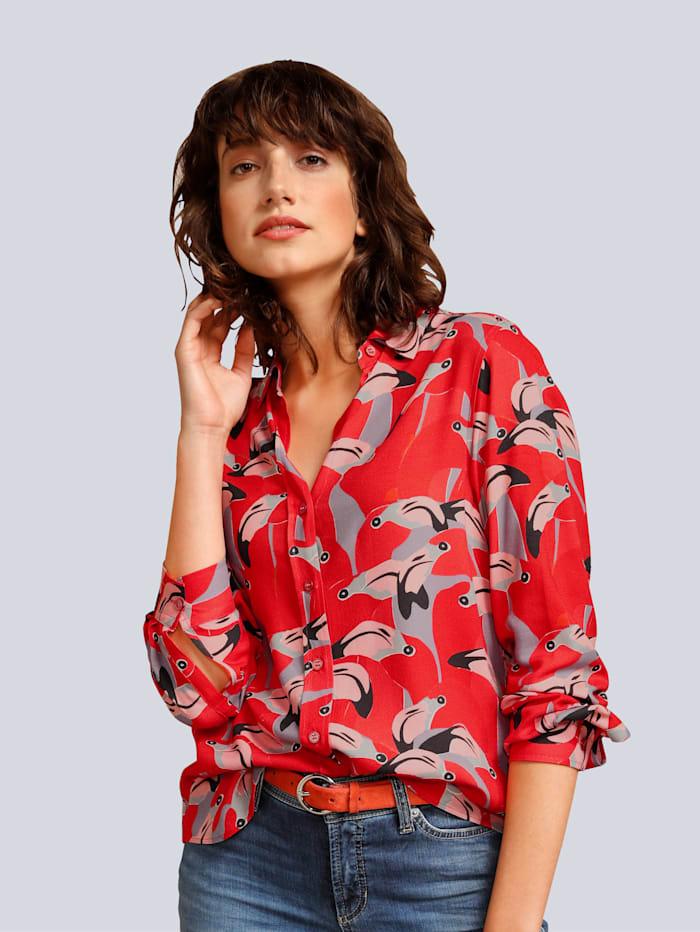 Seidensticker Schwarze Rose Bluse im tollen Print, Rot