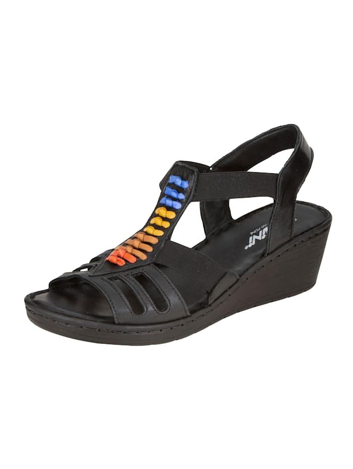 Gemini Sandales compensées avec bandes en cuir tendance, Noir