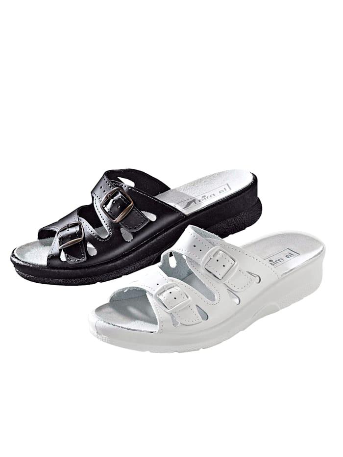 Belafit Mules par lot de 2 paires, Blanc/Noir