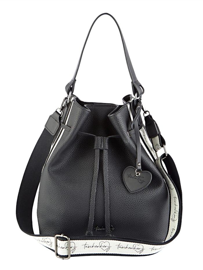 Taschenherz Beuteltasche mit einem abnehmbaren Taschenherz-Anhänger, schwarz