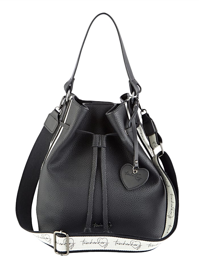 Taschenherz Handbag with a removable logo pendant, Black