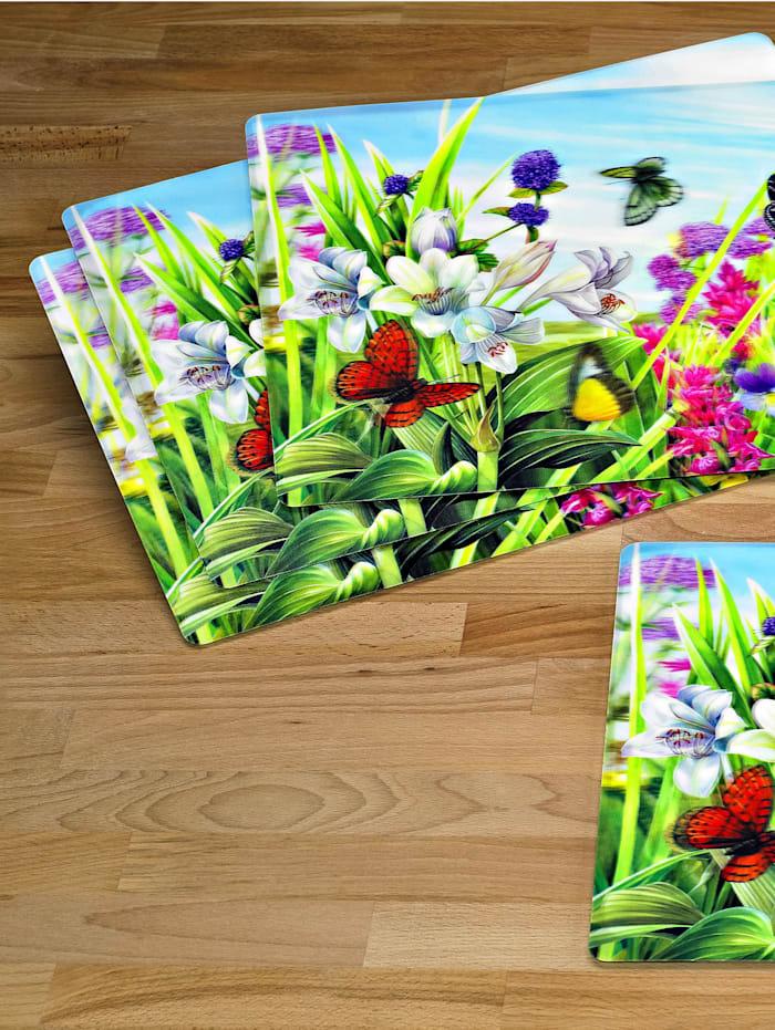 Spisebrikker i 4-pk -Blomstereng-, flerfarget