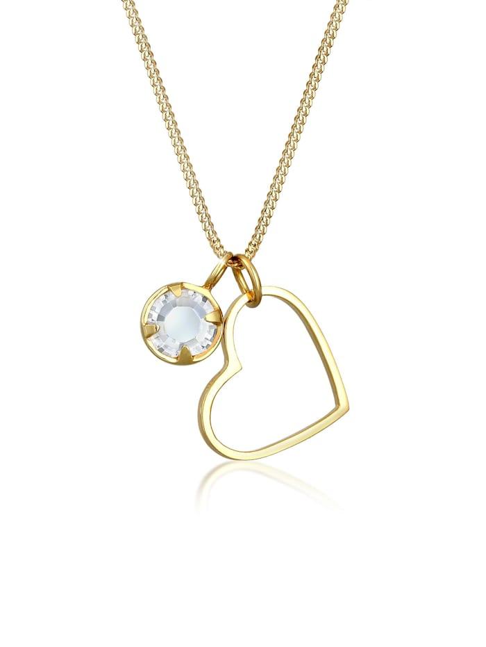 Elli Halskette Herz Liebe Cut Out Kristalle 925 Silber, Gold