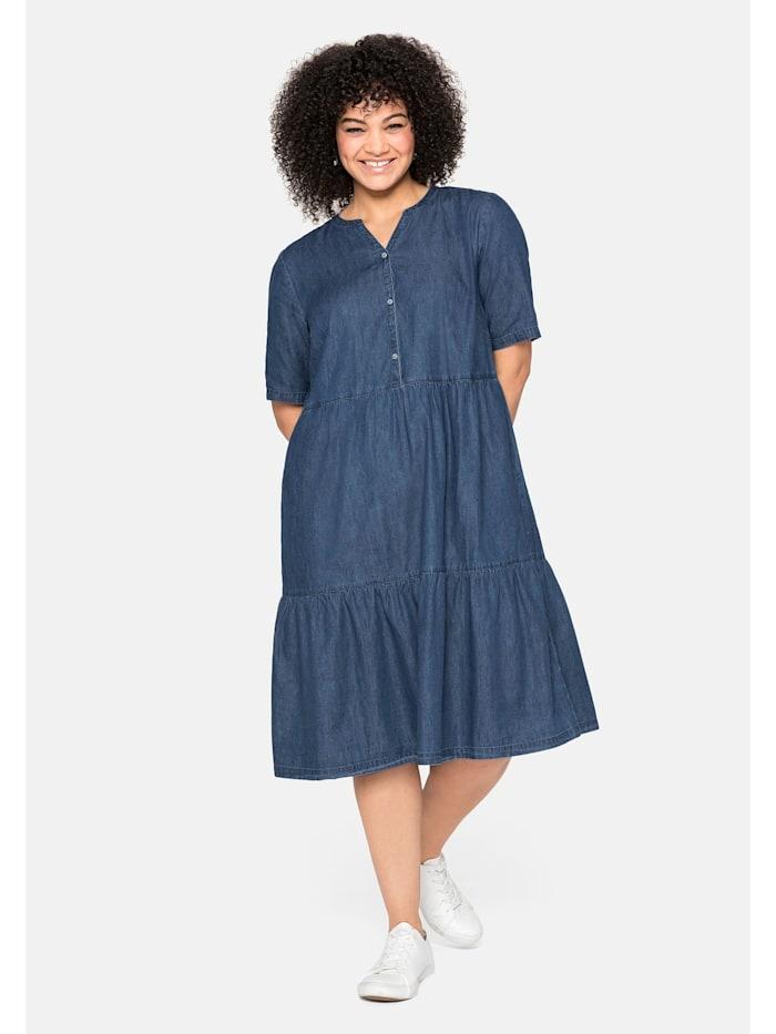 Sheego Jeanskleid aus leichtem Denim, in Volant-Optik, blue Denim