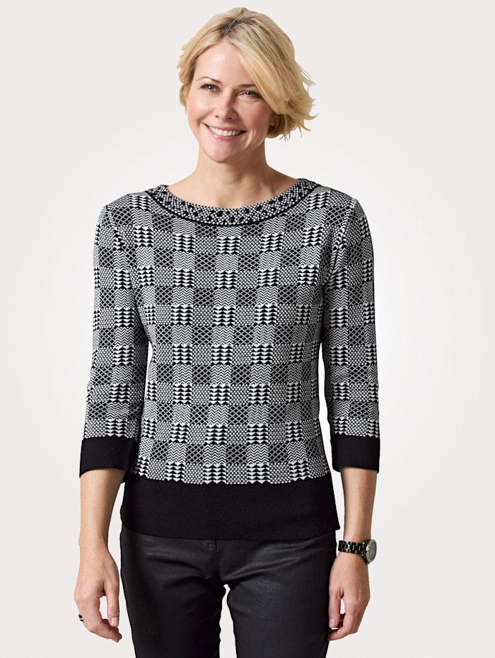 MONA Pullover mit Ziersteinen, Schwarz/Weiß