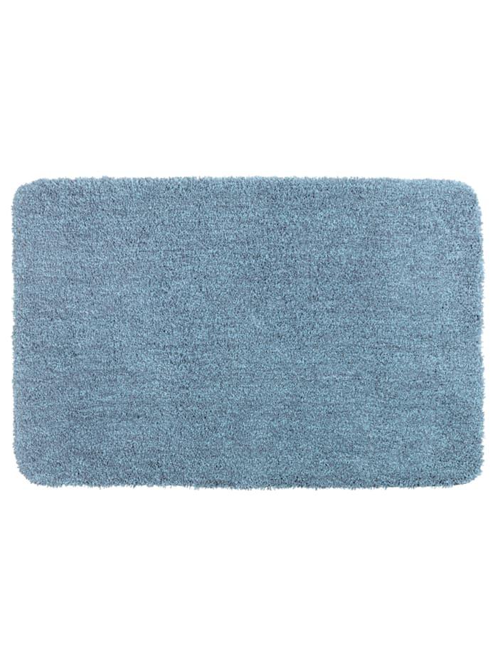 Wenko Badteppich Mélange Marine Blue, 60 x 90 cm, 60 x 90 cm, Mikrofaser, Polyester/Mikrofaser: Blau