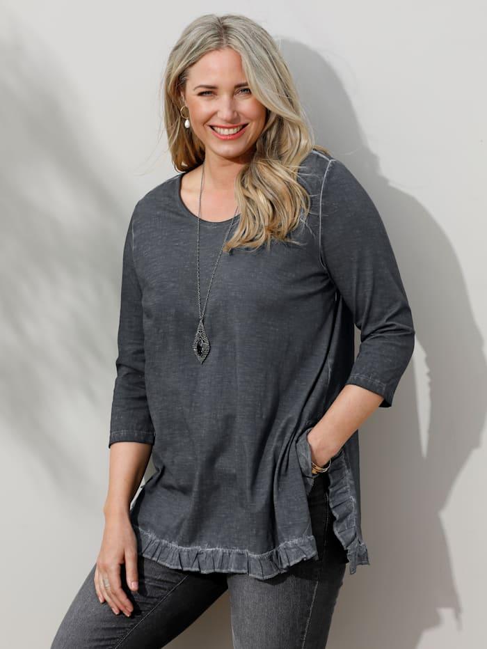 MIAMODA Shirt mit Rüschen am Saum, Grau