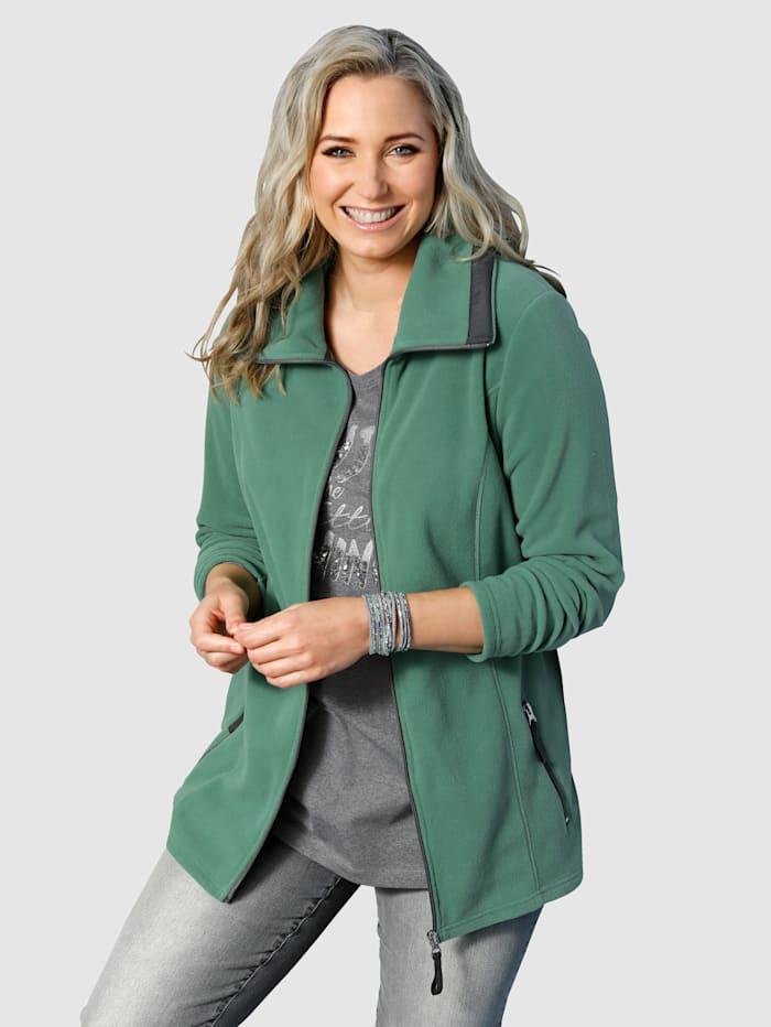 MIAMODA Fleece vest met platte kraag, Groen