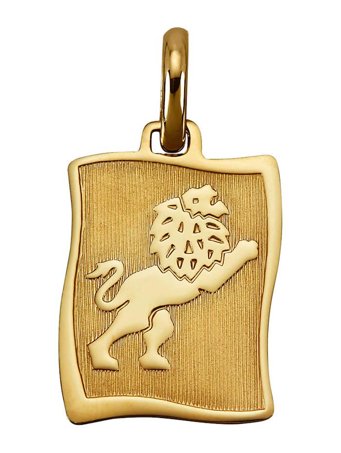 """Amara Or Pendentif avec pierre de naissance """"Lion"""" en or jaune 585, Coloris or jaune"""