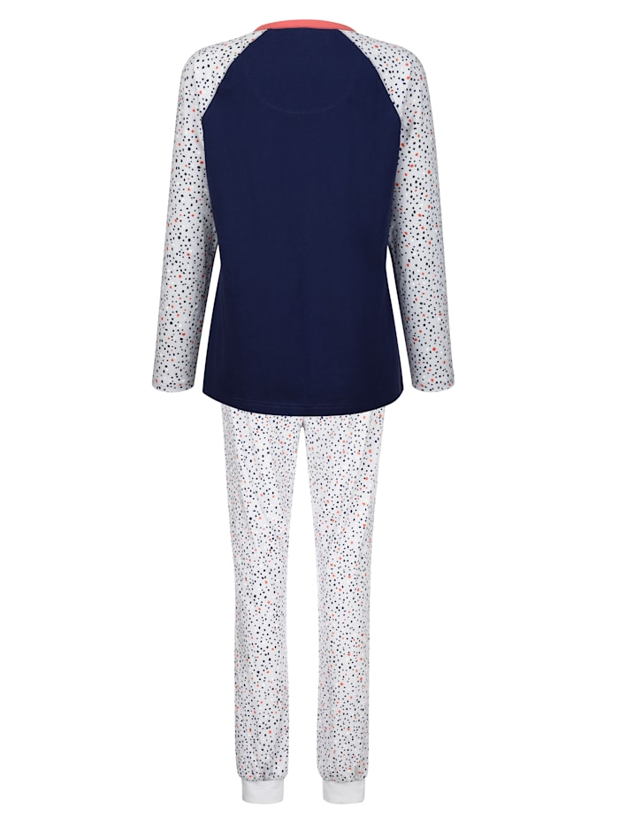Pyjama met contrastkleurige knoopsluiting