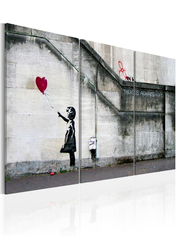 artgeist Wandbild Hoffnung gibt es immer (Banksy) - Triptychon, Rot,Grau