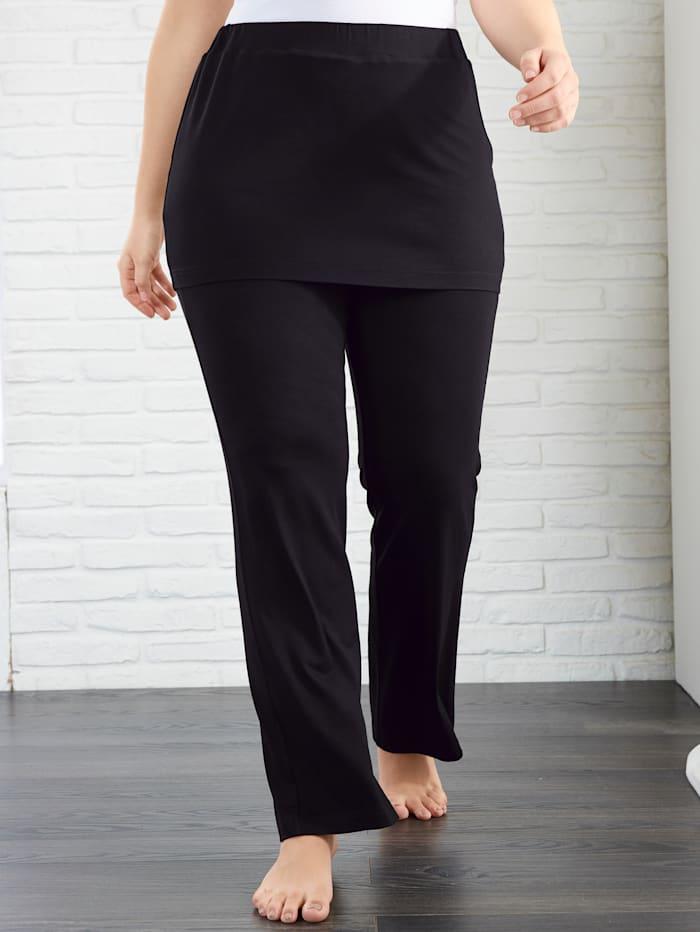 Janet & Joyce Jersey broek in 2-in-1-look, Zwart