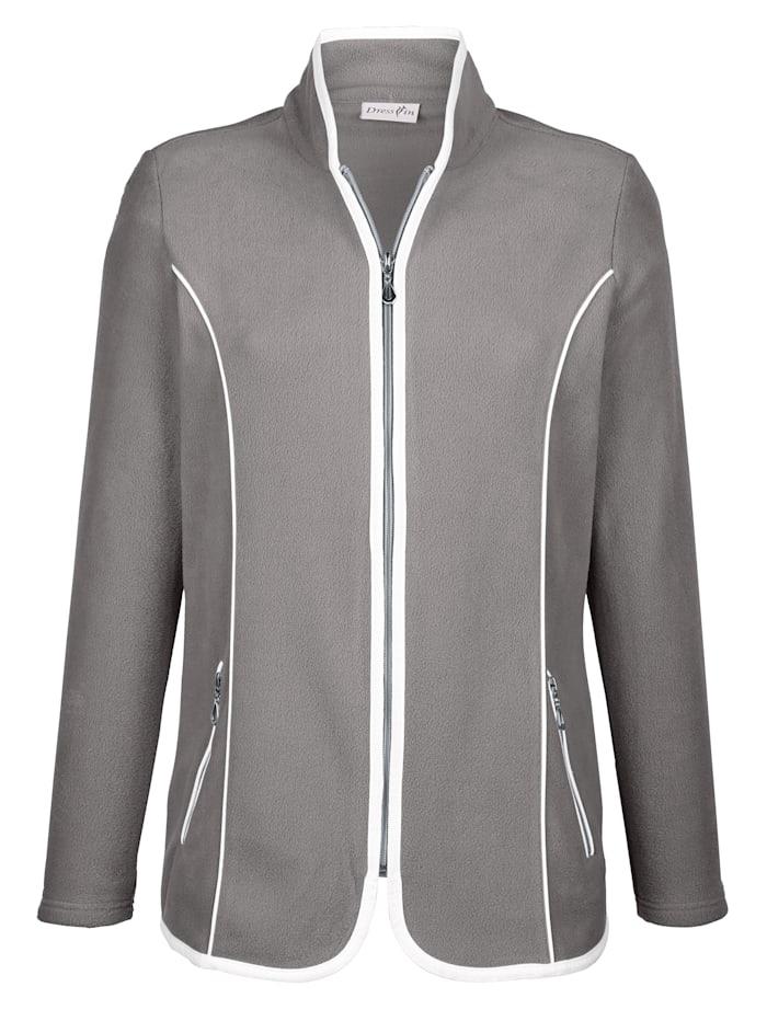Dress In Fleece vest met contrastkleurige paspels, Grijs/Wit