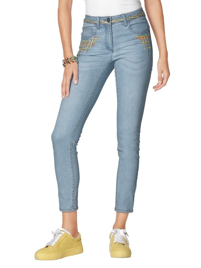 AMY VERMONT Jeans met kleurrijk borduursel, Light blue