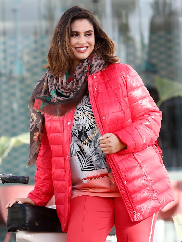 Sara Lindholm Doorgestikte jas met wattering, Koraal