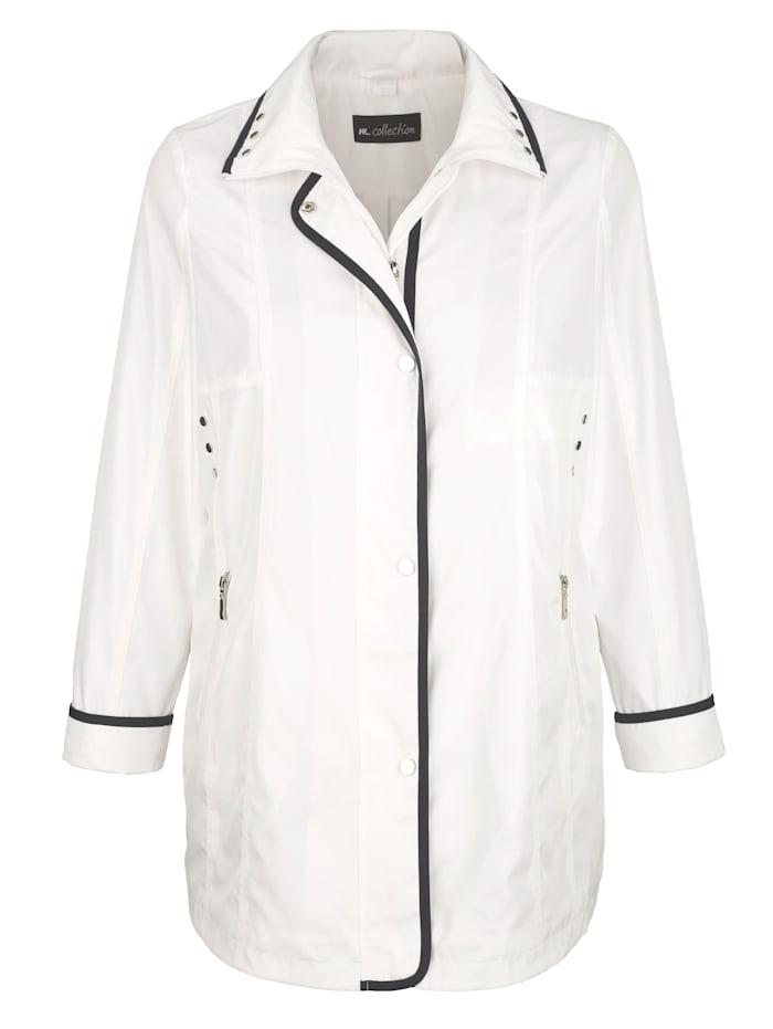 m. collection Jacke mit kontrastfarbiger Paspelverarbeitung, Weiß/Marineblau