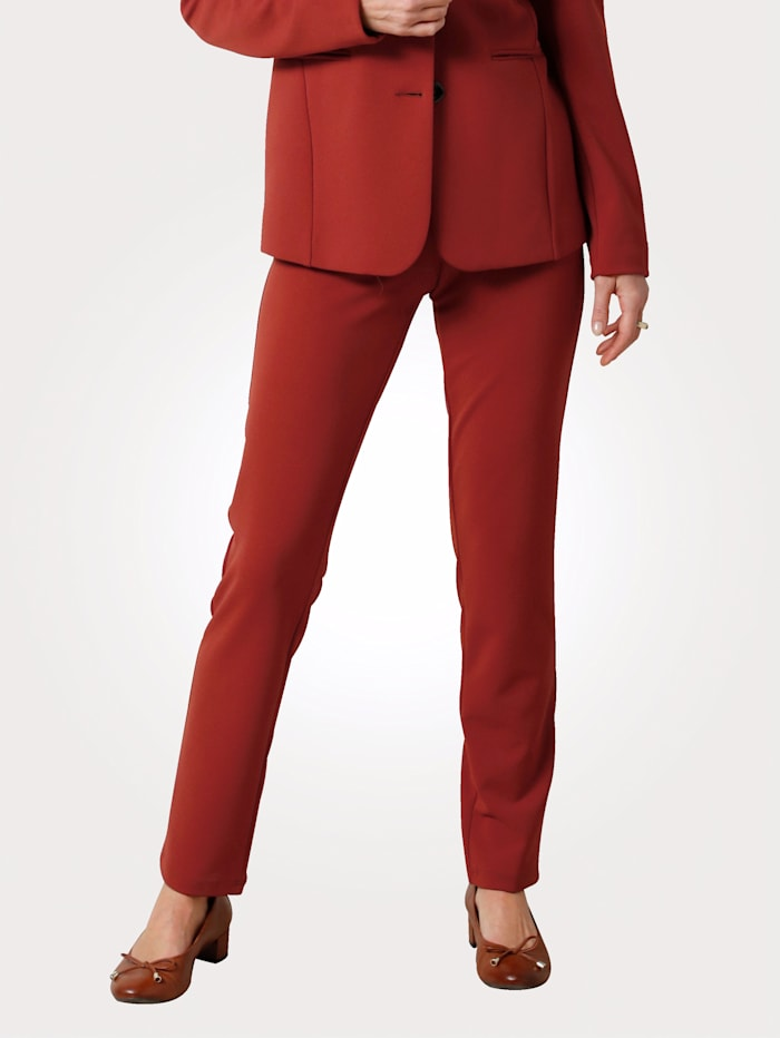 MONA Trousers in a comfortable stretch fabric, Burnt Orange