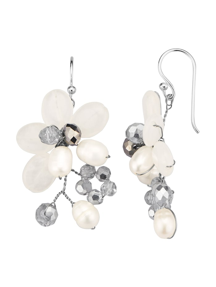 Náušnice so sladkovodnými perlami, Biela